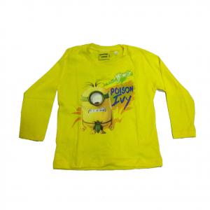 MINIONS maglia maniche lunghe gialla stampata in 100% cotone varie taglie bambin