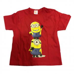 MINIONS t-shirt maglietta rossa stampata in 100% cotone varie taglie da bambino