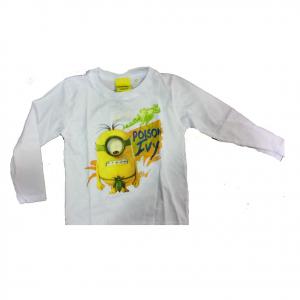 MINIONS maglia maniche lunghe bianca stampata in 100% cotone varie taglie bambin