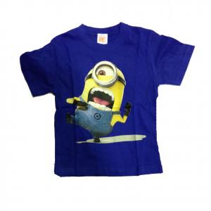 MINIONS t-shirt maglietta blu stampata in 100% cotone varie taglie da bambino