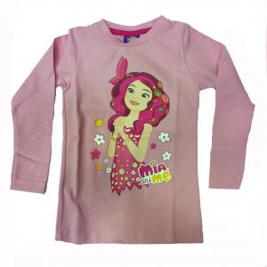 MIA E ME maglia maniche lunghe in cotone rosa stampato varie taglie da bambina