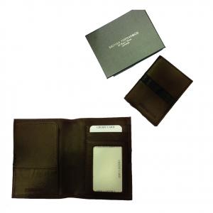 Portadocumenti e carte uomo in pelle morbida marrone e nera idea regalo 14x10,5