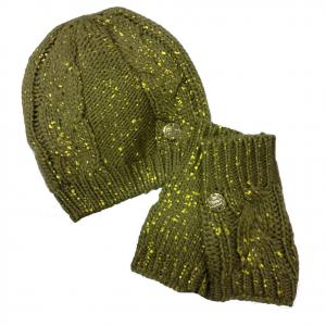 Set cappello+guanti donna senza dita donna in lana morbida calda marrone e oro