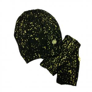 Set cappello+guanti donna senza dita donna in lana morbida calda nera e oro