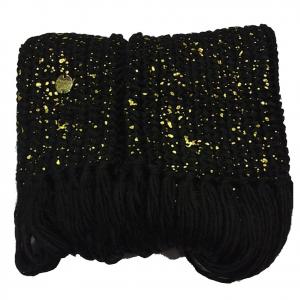 Sciarpa scaldacollo donna in morbida e calda lana nera e oro con frange