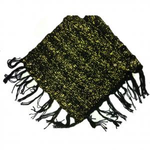 Mantella donna in morbida e calda lana nera e oro con frange taglia unica