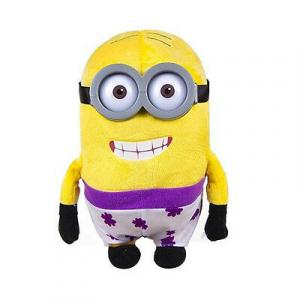Peluche MINIONS 26cm con costume bianco a fiori viola e occhi di plastica 3D
