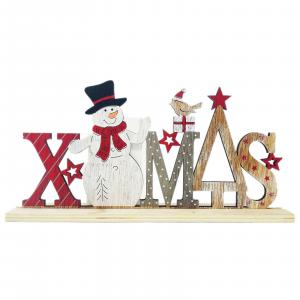 Natale decorazione natalizia in legno scitta da appoggio X.MAS idea regalo