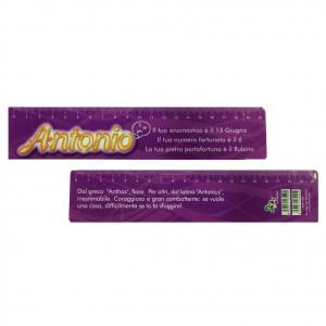 Righello scuola in plastica flessibile piatto con nome ANTONIO 20cm idea regalo