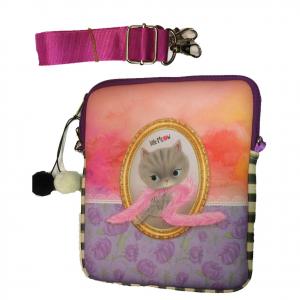 LITTLE MEOW porta tablet con tracolla in tessuto rosso-viola con gattina 27x22,5