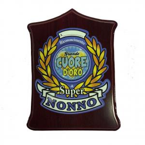 Targa SUPER NONNO GRANDE CUORE D'OROin legno scuro personalizzabile 19,5x13,5 cm
