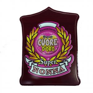 Targa SUPER NONNA GRANDE CUORE D'OROin legno scuro personalizzabile 19,5x13,5 cm