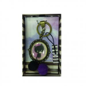 LITTLE MEOW portachiavi ottonato viola con gatto e pon-pon bi-color 13,5 cm