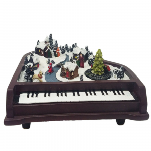 NATALE Scena natalizia musica e luci poggiato su pianoforte