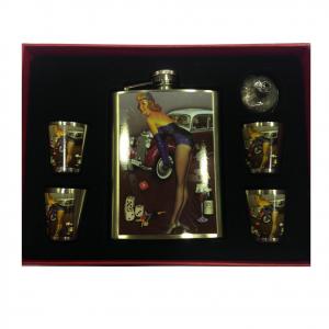 Fiaschetta Pin-up con auto con 4 bicchierini e imbuto in metallo Dal Negro