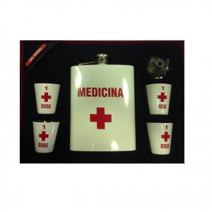Fiaschetta Medicina con 4 bicchierini e imbuto in metallo bianco Dal Negro
