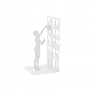 Fermalibri The Library bianco libreria arredamento reggilibri conf. da 1 pezzo