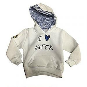 INTER felpa da bambino i love inter bianca con cappuccio decorato in cotone