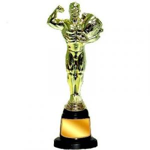 Trofeo Oscar in plastica dorata totale H cm 29 con base nera diiametro cm 9