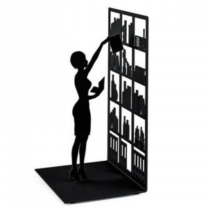 Fermalibri The Library nero libreria arredamento reggilibri