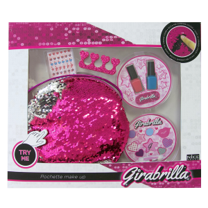 Pochette paillettes reversibili con tracolla + Kit make up