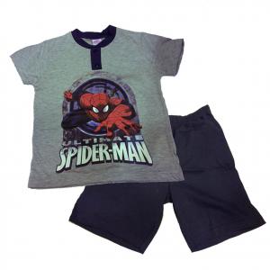 SPIDERMAN pigiama corto t-shirt +pantaloncino in cotone grigio varie taglie