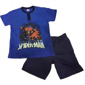 SPIDERMAN pigiama corto t-shirt +pantaloncino in cotone blu varie taglie