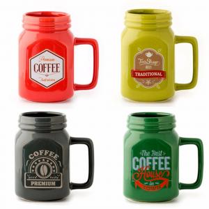 TAZZA 400 ml ceramica rossa/verde/gialla/nera per lavastoviglie e forno a micro