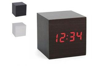 Sveglia digitale Wood cubo