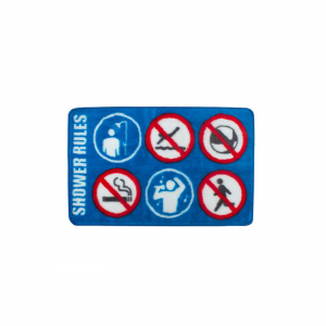 Tappeto sala bagno Shower Rules colore azzurruo antiscivolo dim.: 46x75x1 cm