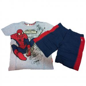 SPIDERMAN pigiama completino corto t-shirt +pantaloncino in cotone blu e rosso