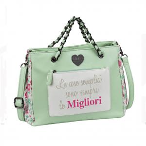 PANDORINE MINIPA' borsa a mano con tracolla verde acqua fantasia fiori Primavera