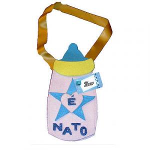 NASCITA biberon celeste da bambino personalizabile con il nome in feltro 24x12cm