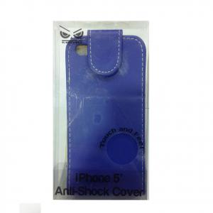 COVER mascherina iphone 5/5S blu a portafoglio in eco-pelle MOOD