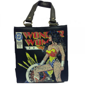 Borsa WONDER WOMAN love girl in finta pelle blu e marrone 25x26,5