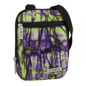 Tracollina COMIX doppia tasca con zip fantasia verde e viola in cordura19,5x14cm