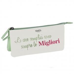 Beauty porta oggetti MINIPA in eco-pelle bianco e verde acqua fantasia fiori