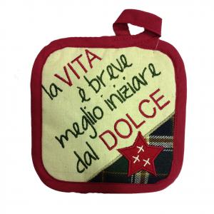 Presina 100% cotone LA VITA E' BREVE MEGLIO.....COUNTRY STYLE 15,5X15,5 cm