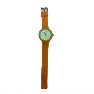 Orologio polso H2X acciaio e silicone arancione e azzurro intercambiabili donna