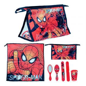 SPIDERMAN set da viaggio in pochette trasparente con stampa e accessori bambino