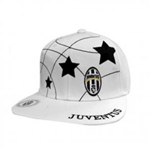 JUVENTUS cappello ufficiale rapper visiera piatta bianco con stelle nere e logo