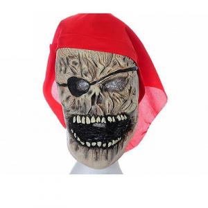 Maschera pirata con bandana rossa in gomma halloween feste e party da adulto