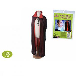 Mantello dracula rosso e nero in stoffa 120 cm di lunghezza halloween da adulto
