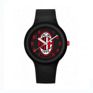 Orologio MILAN  polso silicone nero numeri rossi adulto con scatola regalo 4 cm