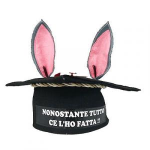 FESTA DI LAUREA cappello tocco+orecchie d'asino feltro+fiocco rosso+mini pergame