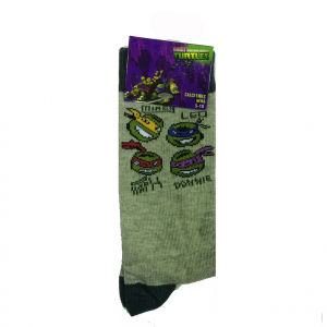 TARTARUGHE NINJA 1 paio di calzini grigi con disegno ricamato varie taglie