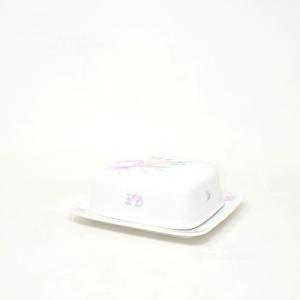 Porta Burro In Ceramica Bavaria Bianco Fiocco Rosa