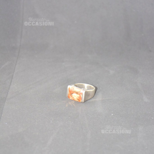 Anello In Argento Con Brillante Color Sabbia