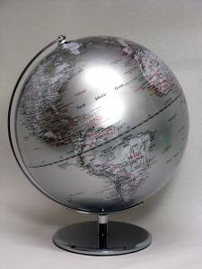 Mappamondo design cm30 argento
