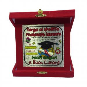 LAUREA targa del merito FINALMENTE LAUREATA rossa personalizzabile 14x14 cm